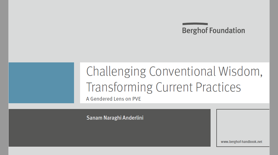 Trouble With Conventional Wisdom Is >> Anderlini Challenges Conventional Wisdom On Countering Preventing