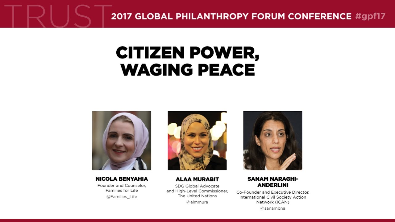 """""""Citizen Power, Waging Peace"""" – Sanam Naraghi-Anderlini at the Global Philanthropy Forum"""